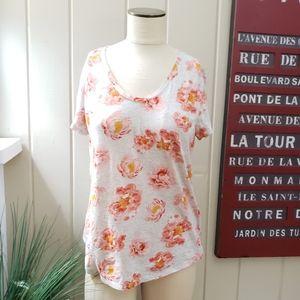 LOFT | M light gray t shirt pink & orange floral